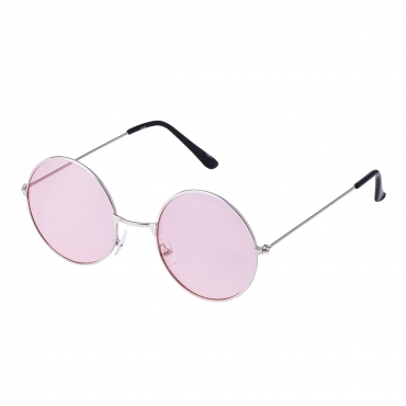 Ultra Silver Frame with Pink Lenses Adults Retro Round Large John Lennon Style Sunglasses Classic Men Women Vintage Retro UV400 Glasses Unisex