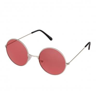 Ultra Silver Frame with Red Lenses Adults Retro Round Large John Lennon Style Sunglasses Classic Men Women Vintage Retro UV400 Glasses Unisex