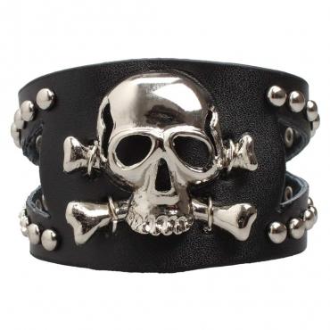UltraByEasyPeasyStore Single Skull and Crossbones Goth Steampunk Bracelet Emo Punk Cyber Wrist Cuff Mens Womens Wristbands Biker Rock Vintage Gothic Style Adult