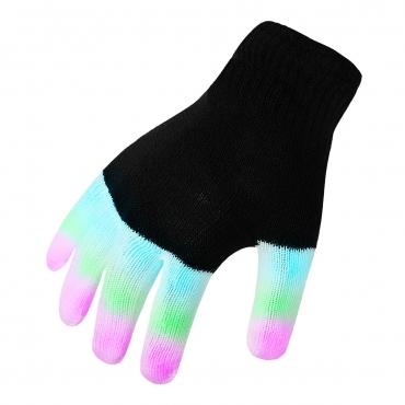 Ultra Black LED Gloves Light Up Gloves  for 7 Years Plus Childrens LED Gloves 6 Settings 3 Colours Fingertip Flashing Gloves Light Up LED Gloves Disco Light Finger Lights Glow Gloves Party Birthday