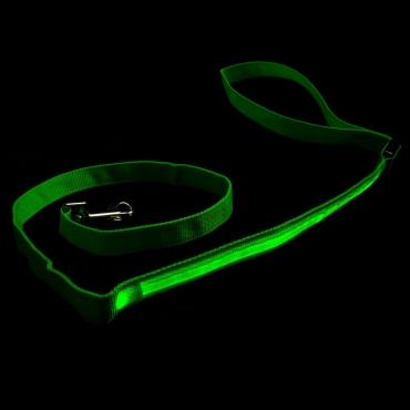 Green LED Flashing Light Up Dog Lead Nylon Walking Night Safety Glowing Illuminated Leash Hi Visibility for Training and Exercising 3 Modes