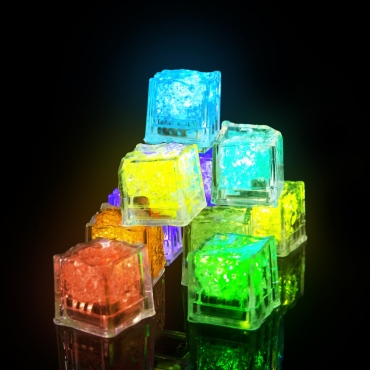 6 to 96 Packs of Square Bright LED Ice Cubes Reusable Ice Cubes Whiskey Stones Fake Ice Cubes Liquid Activated Flashing Ice Cubes Water Sensor Light Up Cubes LED Light Bar Gin Ice Cubes Decorative Freezable