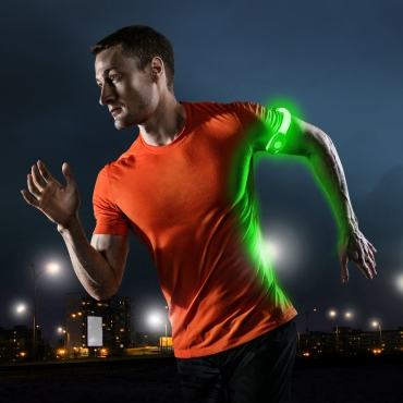 Ultra 4 Green LED Armbands Running Lights for Runners LED Light Running Armband for Men and Women High Vis Running Accessories Walking Accessories Night Safety Reflective Cycling Biking Jogging Bands
