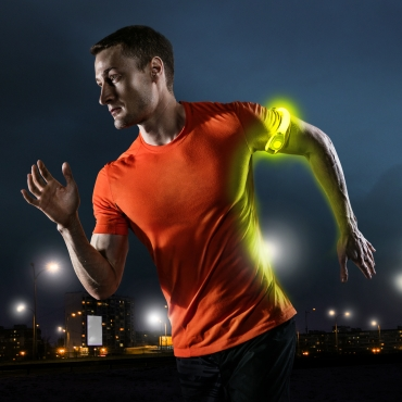 Ultra 4 Yellow  LED Armbands Running Lights for Runners LED Light Running Armband for Men and Women High Vis Running Accessories Walking Accessories Night Safety Reflective Cycling Biking Jogging Bands