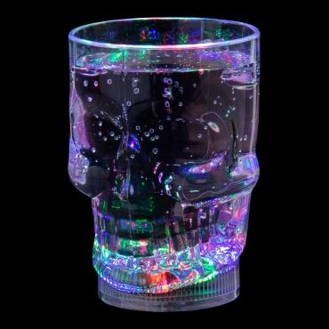Ultra LED Flashing Plastic Skull Mug with Handles LED Light Bar Water Glasses Plastic Tumblers For Adults Children Beer Stein Glass Disco Light