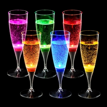 Ultra LED Champagne Flutes Wine Glasses Light Up Liquid Activated Drinking Glasses Perfect Light Up Glasses for Birthdays Weddings Plastic Champagne Glasses Prosecco Glasses Goblets Saucers…