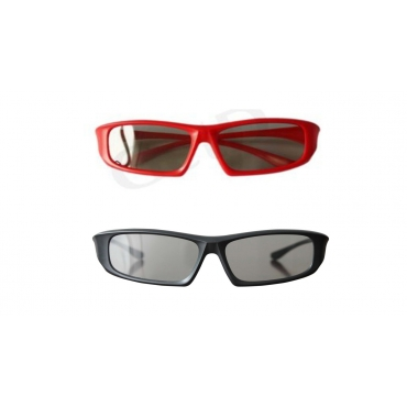 Pack of 2 Red and 2 Black Adults Passive 3D Glasses in a wraparound style for Passive TVs Cinema and Projectors such as RealD Toshiba LG Panasonic