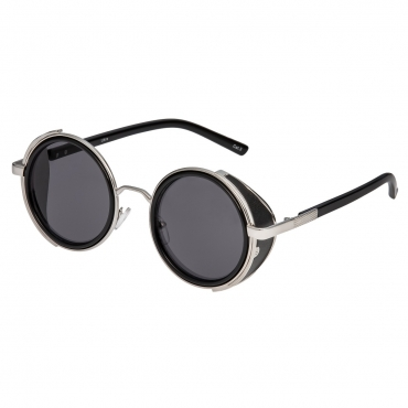 Ultra Silver Frame Grey Lenses Steampunk Sunglasses Goggles Retro Women Men Round Cyber Circle Cosplay Gothic Punk Welding Glasses Vintage Metal UV400