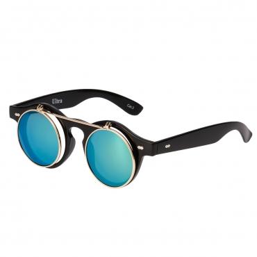 Ultra Black Frame Green Mirrored Lenses Flip Up Round Steampunk Sunglasses Classic Goggles Retro Mens Womens UV400 Cyber Gothic Circle Glasses