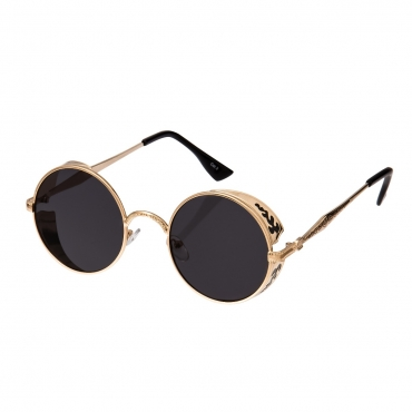Ultra Steampunk Round Sunglasses Gold with Black Lenses Retro Mens Women Cosplay Cyber Gothic Vintage UV400 Protection Goggles Blinders Unisex