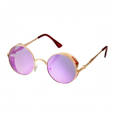 Ultra Steampunk Round Sunglasses Gold with Purple Lenses Retro Mens Women Cosplay Cyber Gothic Vintage UV400 Protection Goggles Blinders Unisex