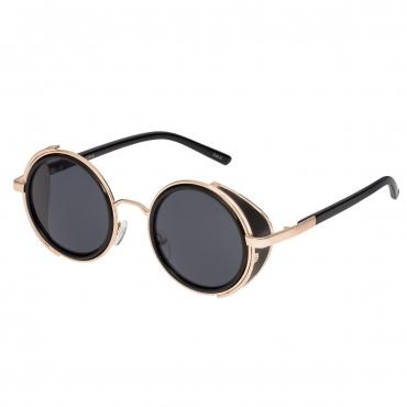 Ultra Gold Frame Grey Lenses Steampunk Sunglasses Goggles Retro Women Men Round Cyber Circle Cosplay Gothic Punk Welding Metal Glasses Vintage UV400
