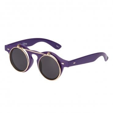 Ultra Purple with Black Lenses Flip Up Round Steampunk Sunglasses Classic Goggles Retro Mens Womens UV400 Cyber Gothic Circle Glasses