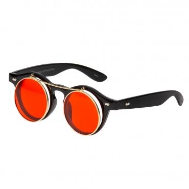 Ultra Black Frame Red Lenses Flip Up Round Steampunk Sunglasses Classic Goggles Retro Mens Womens UV400 Cyber Gothic Circle Glasses