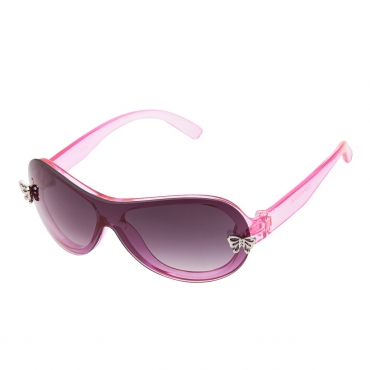Ultra Pink Girls Sunglasses Shiny Crystal Pink Frame with Two Silver Butterfly Plaques Pearl Coated Frame with Smoked Lenses UV400 UVA UVB Protection Suitable for Ages 3 to 10 Years
