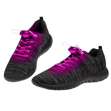 Pink LED Shoelaces Light Up Shoe Laces Flashing LED DIsco Light Laces Fibre Glow in the Dark Laces Night Safety Festival Hip Hop Shoes Boots