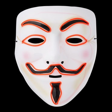 Ultra El Wire Guy Fawkes Mask Halloween Mask Hacker Mask Children Adult Anonymous Mask Guy Fawkes Masks LED Face Mask Cosplay Mask Light Up Mask Adults Kids Face Masks LED Mask-red