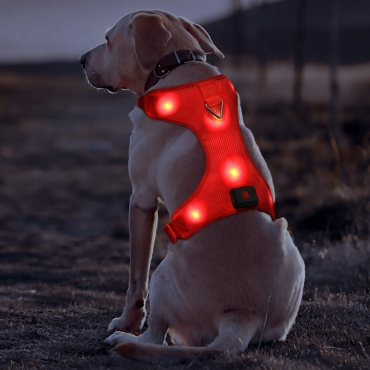 Red Harness USB Rechargeable LED Dog Harnesses Light Up Harness Anti Pull Safety Light Up Dog Harness Flashing Dog Harness