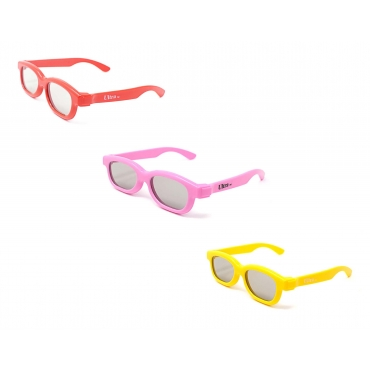 Mixed Colours 3 Pack of Childrens Passive 3D Glasses for Kids Universal for Passive TVs Cinema and Projectors Kids 3D Glasses