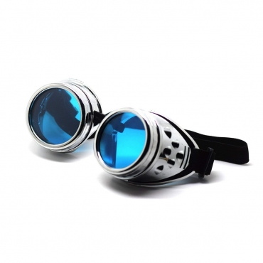 Ultra Silver with Blue Lenses Rivet Steampunk Goggles Mens Womens Cyber Glasses Victorian Punk Welding Cosplay Goth Rustic Rivet Round Eyewear
