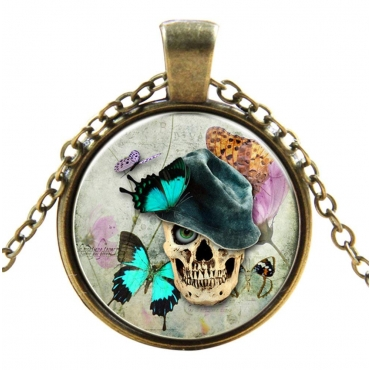 Skull with Top Hat Style Steampunk Necklaces Classic Cyber Punk Victorian Mens Womens Jewellery Chain and Pendant Copper Vintage Cosplay