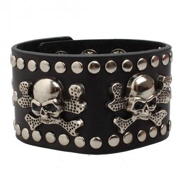 UltraByEasyPeasyStore Skulls and Crossbones Goth Steampunk Bracelet Emo Punk Cyber Wrist Cuff Mens Womens Wristbands Biker Rock Vintage Gothic Style Adult