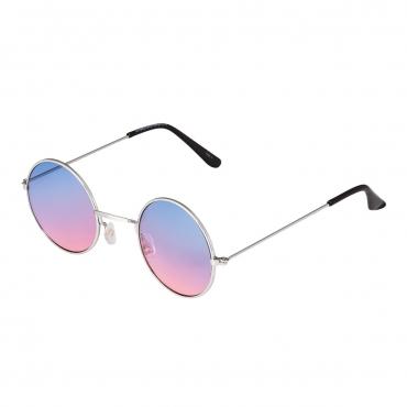 Ultra Adults Small Retro Round Classic John Lennon Style Sunglasses Mens Women UV400 Glasses-Silver Frame Blue to Pink Lenses