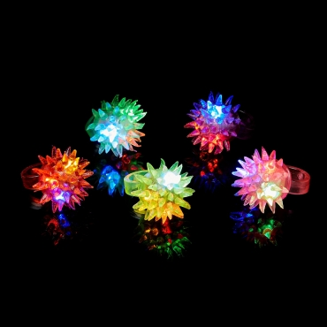 Spikey Glow in the Dark LED Glow Ring Flashing Jelly Rings LED Finger Lights for Kids Adults LED Ring Light Up Party Favours Toy Ring Light Up