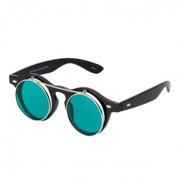 Ultra Black Frame Dark Green Lenses Flip Up Round Steampunk Sunglasses Classic Goggles Retro Mens Womens UV400 Cyber Gothic Circle Glasses