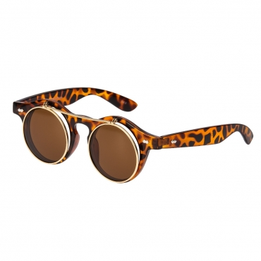 Ultra Leopard/Tiger Print with Brown Lenses Flip Up Round Steampunk Sunglasses Classic Goggles Retro Mens Womens UV400 Cyber Gothic Circle Glasses Cosplay Unisex