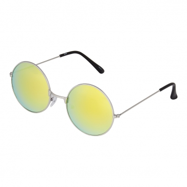 Ultra Silver Frame with Gold Lenses Adults Retro Round Large John Lennon Style Sunglasses Classic Men Women Vintage Retro UV400 Glasses Unisex