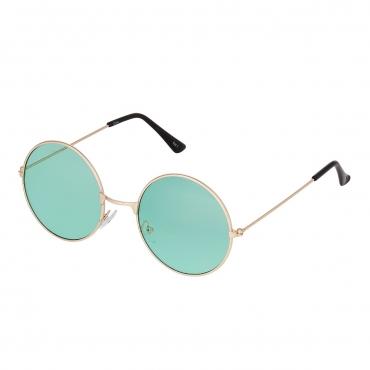 Ultra Gold Frame with Green Lenses Adults Retro Round Large John Lennon Style Sunglasses Classic Mens Womens Vintage Retro UV400 Glasses Unisex