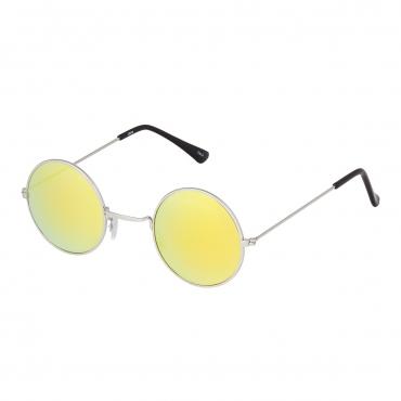 Ultra Silver Frame with Gold Mirrored Lenses Retro Round Adults Small John Lennon Style Sunglasses Classic Men Women Vintage Retro UV400 Glasses Unisex