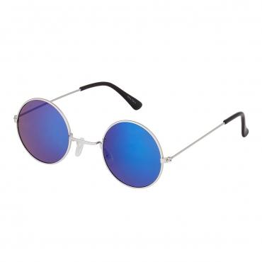Ultra Silver Frame with Blue Mirrored Lenses Retro Round Adults Small John Lennon Style Sunglasses Classic Men Women Vintage Retro UV400 Glasses