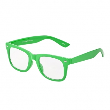 Green Childrens Costume Glasses Classic Clear Lens Frames Boys Girls Kids Fancy Dress World Book Day Geek Hipsters Nerds Look Style