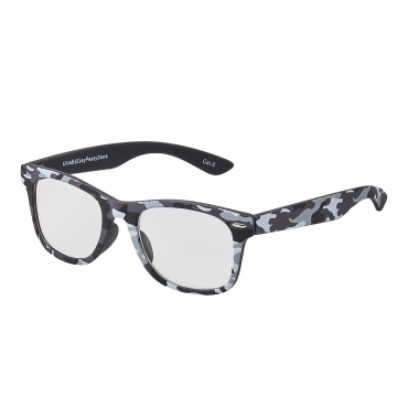 Grey Camouflage Childrens Classic Clear Lens Glasses Frames Boys Girls Kids Costume Fancy Dress World Book Day Geek Hipsters Nerds Look Style
