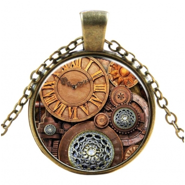 Watch Cogs Style Steampunk Necklaces Classic Cyber Punk Victorian Mens Womens Jewellery Chain and Pendant Copper Vintage Cosplay