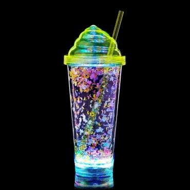 Ultra  Ice Cream Swirl LED Flashing Plastic Drinking Glasses LED Light Bar Water Glasses Plastic Tumblers for Adults Children Beer Glass Cocktail Glass Light Up Glasses Drinking Disco Light 400ml Tumbler