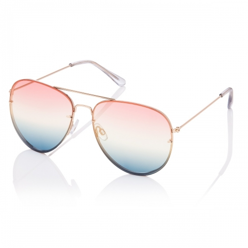 Ultra Gold with Pink to Blue Lenses Adult Pilot Style Sunglasses Men Women Classic Vintage Retro Glasses UV400 Metal Shades Eyewear