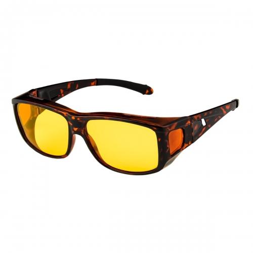 Ultra Tortoise Frame Polarized Night Over Glasses Polorised Driving Fishing Night Vision Lenses Night Driving Glasses Men's and Women's Polarised Sunglasses Anti Glare Amber Lens UV400 Polarized