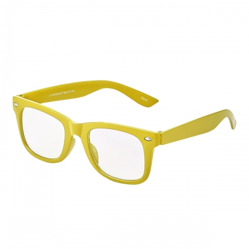 Yellow Childrens Classic Clear Lens Glasses Frames Boys Girls Kids Costume Fancy Dress World Book Day Geek Hipsters Nerds Look Style