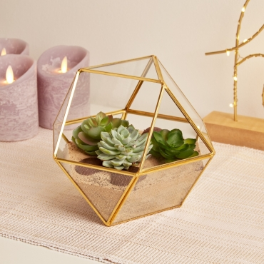 Gold Pentagon Ball Shaped Glass Terrarium Planter For Air Plants Cactus Small Succulents Or Wedding Table Centrepiece or Gift for a Home Geometric