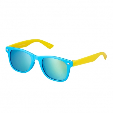 Ultra Blue and Yellow Kids Sunglasses Rubber Flexible Childrens Sunglasses UV400 UV Protection UVA UVB Boys Sunglasses Girls Sunglasses for Kids Retro Classic Sun Glasses Unbreakable Glasses