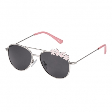 Ultra Silver Frame with Pink Butterflies Childrens Kids Pilot Style Sunglasses Boys Girls Classic UV400 UVA UVB Metal Shades Glasses Unisex Suitable for Ages 3 to 9 years