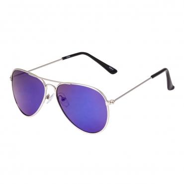 Ultra Silver Frame with Blue Mirrored Lenses Childrens Kids Pilot Style Sunglasses Boys Girls Classic UV400 UVA UVB Metal Shades Glasses Unisex