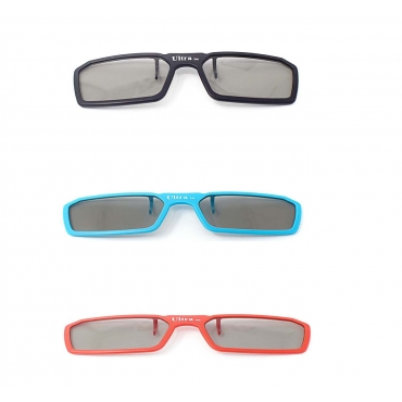 3 Pairs of Passive Universal 3D New Standard Clip on Glasses available in Black Blue and Red for Prescription Eyewear for use with all Passive 3d Tvs Cinema and Projectors