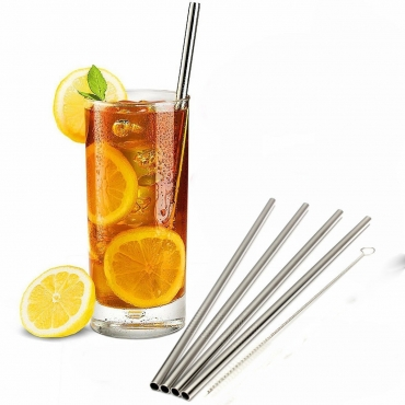 6mm Wide Straight Stainless Steel Metal Drinking Straws Cleaning Brush Reusable