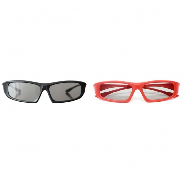 Pack of 1 Red and 1 Black Adults Passive 3D Glasses in a wraparound style for Passive TVs Cinema and Projectors such as RealD Toshiba LG Panasonic