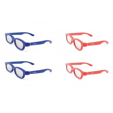 4 Pairs of Passive 3D Glasses for Children 2 Blue 2 Red Universal for use with all Passive 3d Tvs Cinemas and Projectors