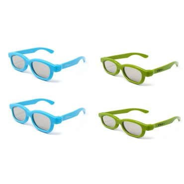 4 Pairs of Kids 3d Glasses 2 Blue 2 Green Universal Pairs of Passive 3d glasses for children kids for use with TV and Cinema